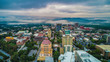 canvas print picture - Drone Aerial of Downtown Asheville North Carolina Skyline