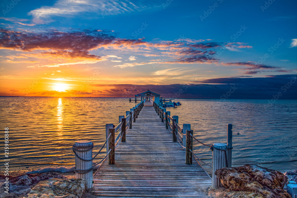 Fototapeta Islamorada Florida Keys Dock Pier Sunrise