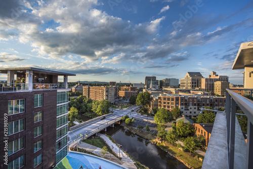 Aerial of the Downtown Greenville South Carolina SC Skyline Fototapet
