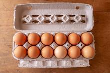 Dozen Brown Eggs In A Carton