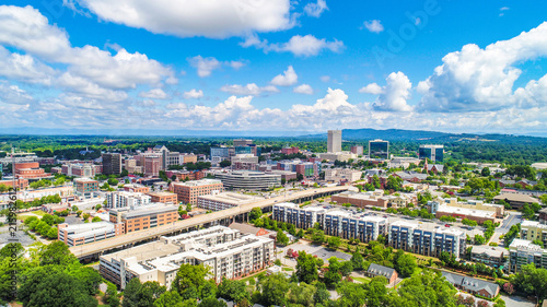 Fotografía Drone Aerial of Downtown Greenville South Carolina SC Skyline