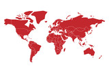 Red vector map of World. Simplified illustration. - 215985404