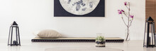 Moon Poster Above Futon In Jap...