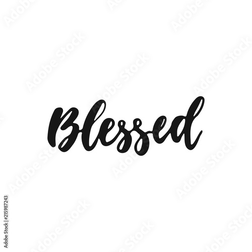 Blessed - hand drawn Autumn seasons Thanksgiving holiday lettering phrase isolated on the white background Wallpaper Mural