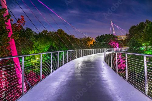 Vászonkép Falls Park Liberty Bridge in Downtown Greenville South Carolina SC
