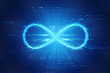 canvas print picture - Infinity symbol in binary digital background