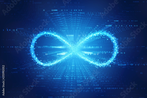 Cuadros en Lienzo Infinity symbol in binary digital background