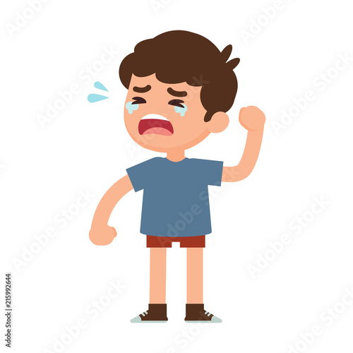 Photo Cute little boy crying, vector illustration.