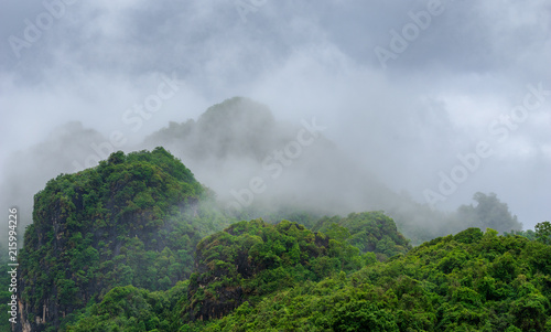 Foto op Aluminium Heuvel green hill mountain and fog with cloud