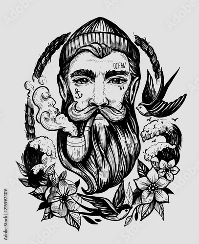 Head of a man with a beard and a smoking pipe Wallpaper Mural