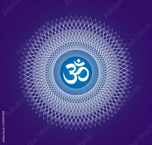 Openwork white  mandala with a sign of Aum  / Om / Ohm on a dark blue background Canvas Print