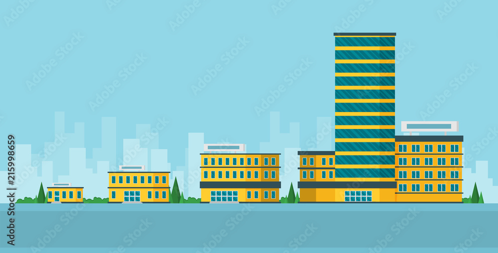 Fototapeta Growth of business. Buildings of company small, middle and big. Flat vector.