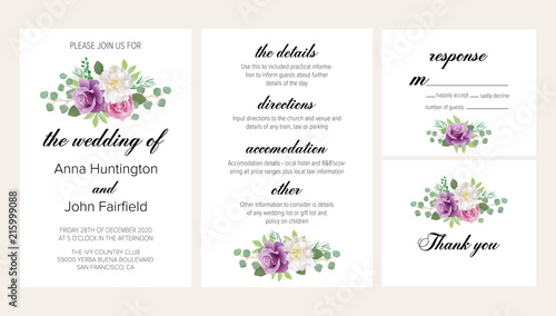 Purple Flowers For Wedding | Beautiful Floral Wedding Invitation Set With Purple Roses And White