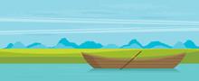 Wooden Boat. Flat Vector Illustration