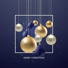 Christmas Greeting Card, Design Of Xmas Black, Silvr, Gold Bauble With Golden Glitter Confetti. Vector Illustration