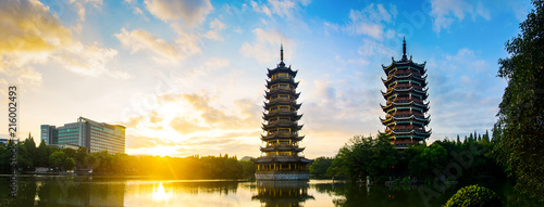Sunrise over the pagodas in Guilin, China