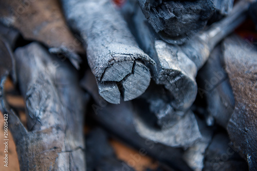 Photo  Black charcoal for fuel