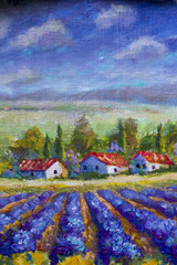 Fototapeta Lawenda Landscape of Italian Tuscany - white houses with red roofs, purple lavender field. Summer rural landscape of Tuscany - textural fragment of a close-up oil painting. Impressionism on canvas.