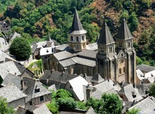 Top View Of The Village Of Conques And The Sainte-Foy Abbey, Aveyron, France
