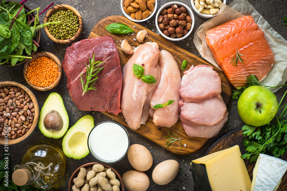 Fototapety, obrazy: Protein sources - meat, fish, cheese, nuts, beans and greens.