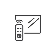Television And Remote Control Outline Icon. Linear Style Sign For Mobile Concept And Web Design. TV Controller Simple Line Vector Icon. Symbol, Logo Illustration. Pixel Perfect Vector Graphics
