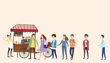 Coffee Cart, Barista, Colored Coffee Shop Outdoor Composition, City, With Buyers Standing In Line For Coffee, Men And Women, Teenagers, Urban Scene, Vector, Cartoon Style, Isolated