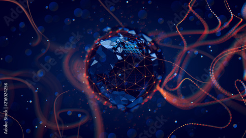 Fotografia  Abstract crypto cyber security technology on global network background