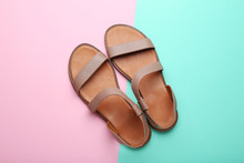 Female Beige Sandals On Colorf...