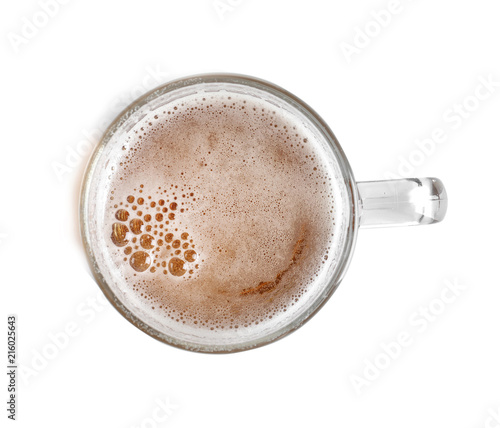 Canvas Prints Beer / Cider Glass mug with cold tasty beer on white background, top view