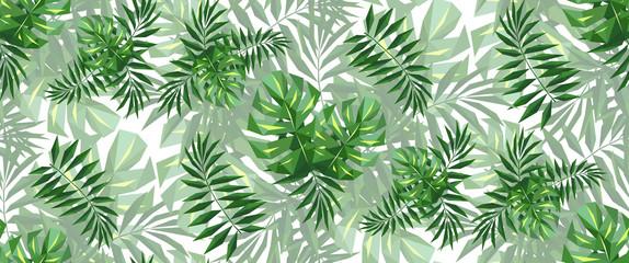 Panel Szklany Na szklane drzwi i okna monstera palm leaves low-polygonal triangulation pattern EPS 10