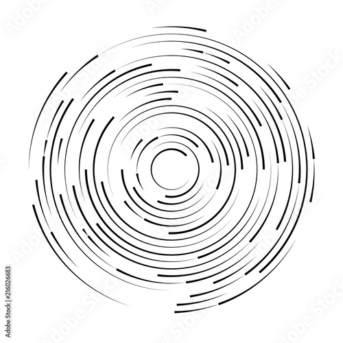 Black swirl shape, abstract illustration. Circle round black lines. Abstract vortex trail. Fototapete