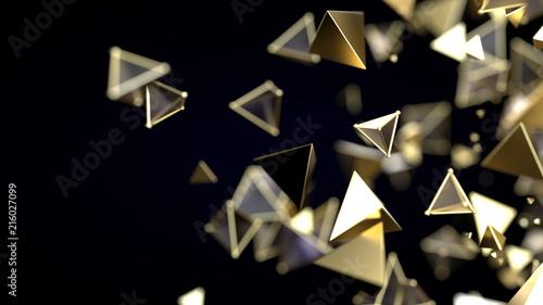 Fotografía  Abstract pyramidal golden particles