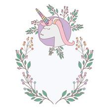 Unicorn With Flowers Wreath De...