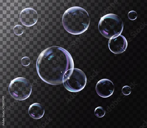 Obraz Realistic transparent soap bubbles with rainbow reflection. Isolated set composition. - fototapety do salonu
