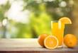 Orange Juice in glass on background.