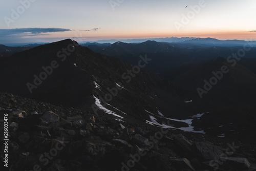 Staande foto Zwart Landscape view of Torrey's Peak in Colorado during sunrise.