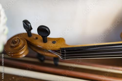 Violino ed archetto, riccioli e corde di artista Canvas Print
