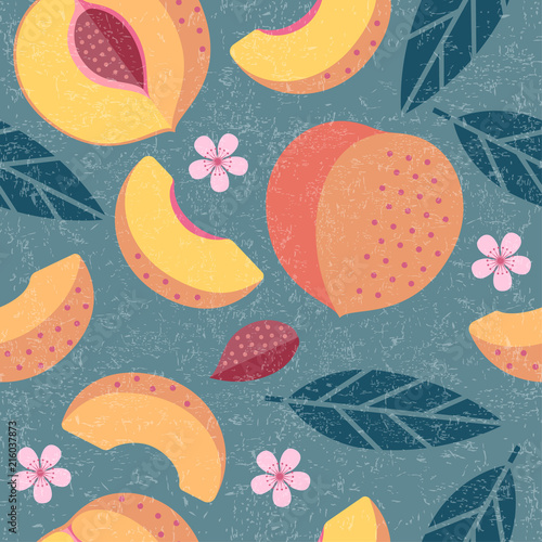 fototapeta na ścianę Peaches seamless pattern. Whole and sliced peaches with leaves and flowers on shabby background. Original simple flat illustration. Shabby style.