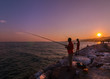 fishing in the sunset, Balıkesir Altınoluk Turkey