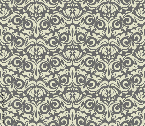 Wallpaper in the style of Baroque. Seamless vector background. Grey floral ornament. Graphic pattern for fabric, wallpaper, packaging. Ornate Damask flower ornament - fototapety na wymiar
