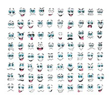 Cartoon Face Expressions Set