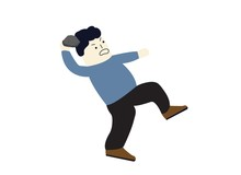 Man Throwing Rock Vector Illus...