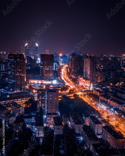 Shanghai rooftop view at sunset Wallpaper Mural