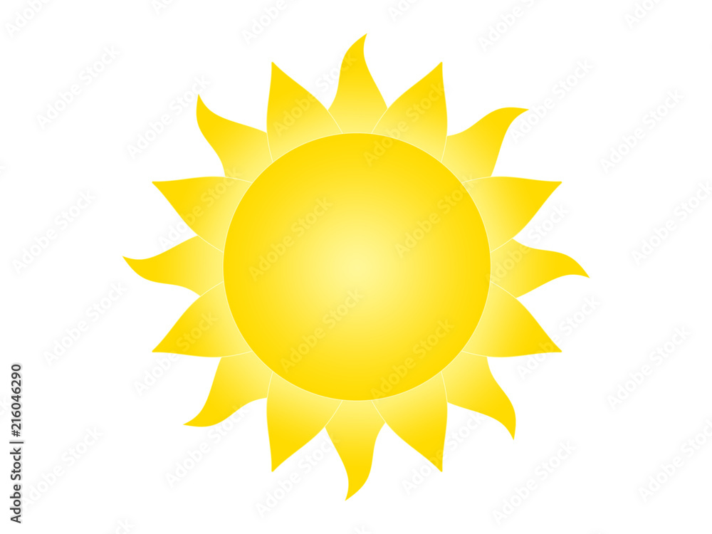 Fototapety, obrazy: Symbol of the sun on a white background