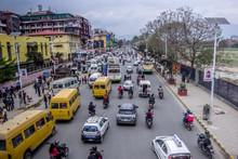 Kathmandu,Nepal 04.12.2018 Street Traffic In The City Of Kathmandu.