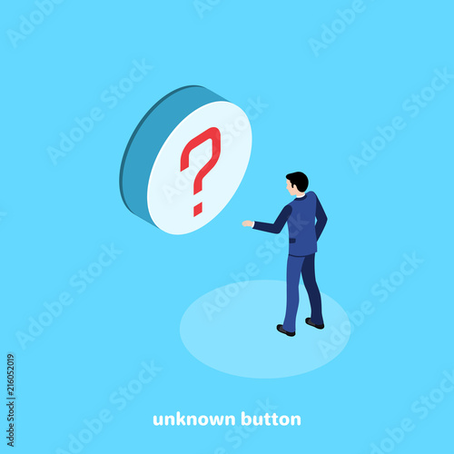Fotografia  isometric image on a blue background, a man in a business suit wants to click on