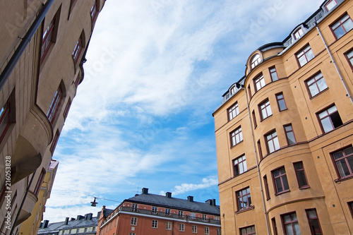 Garden Poster Scandinavia Vasastan typical century old buildings in yellow roughcast
