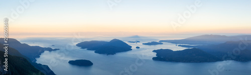 Fotografie, Obraz  Panoramic landscape view of Howe Sound during a vibrant summer sunrise