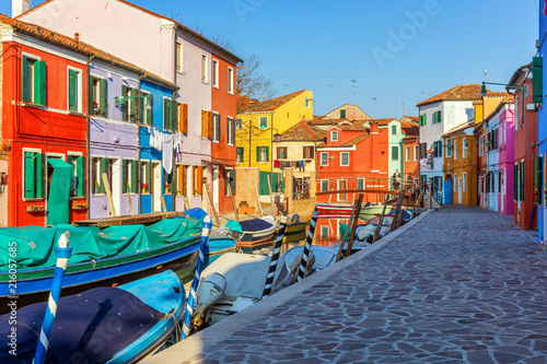Poster Venise Street with colorful buildings in Burano island, Venice, Italy. Architecture and landmarks of Burano, Venice postcard. Scenic canal and colorful architecture in Burano island near Venice, Italy