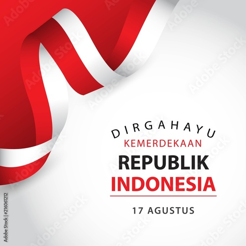 Fotomural  Happy Indonesia Independent Day Vector Template Design Illustration